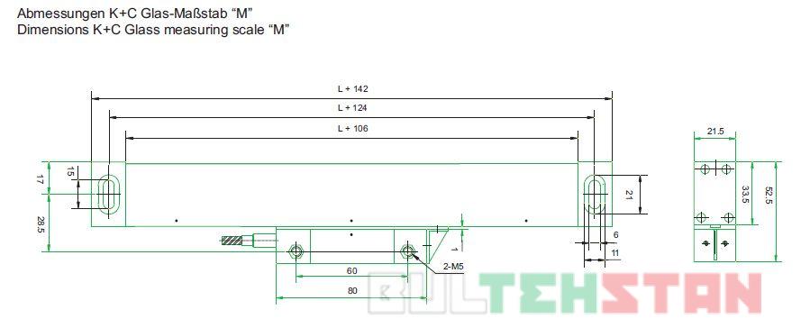 Монтажные размеры оптической линейки модели М