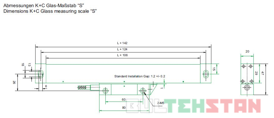 Монтажные размеры оптической линейки модели S